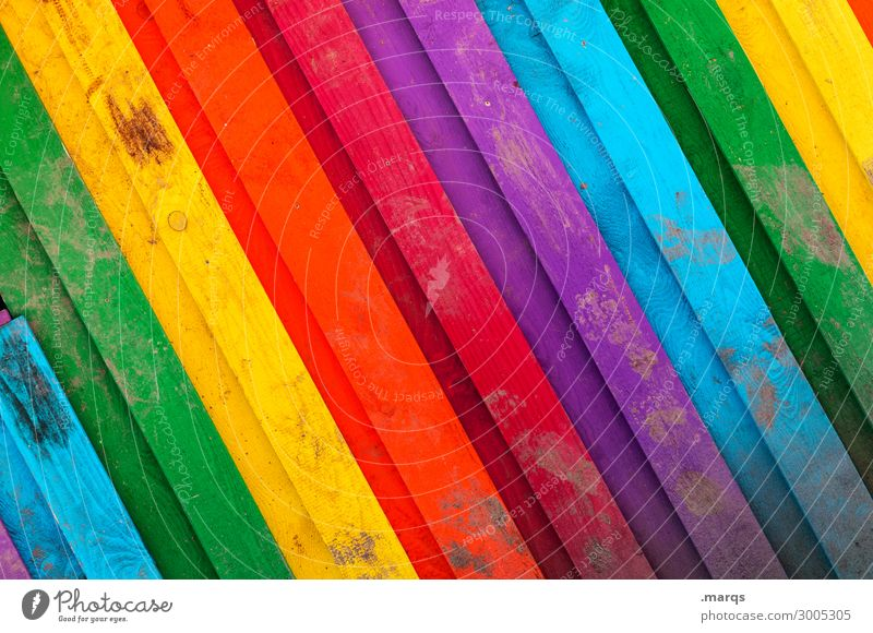 Rainbow (close-up) Fence Wooden fence Dirty Beautiful Multicoloured Colour Spectral Background picture Colour photo Exterior shot Pattern Deserted