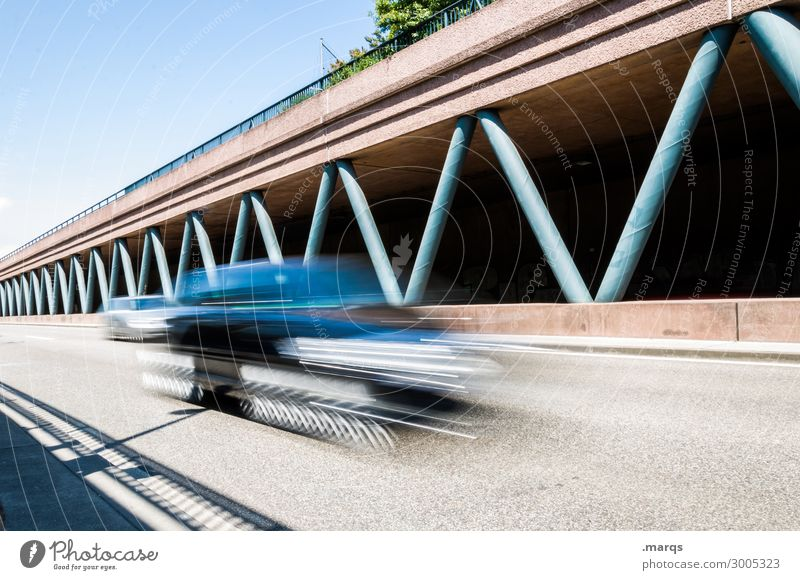 Street Trip Line Car Transport Modern Perspective Future Speed Driving Cloudless sky Traffic infrastructure Mobility Highway Motoring Means of transport