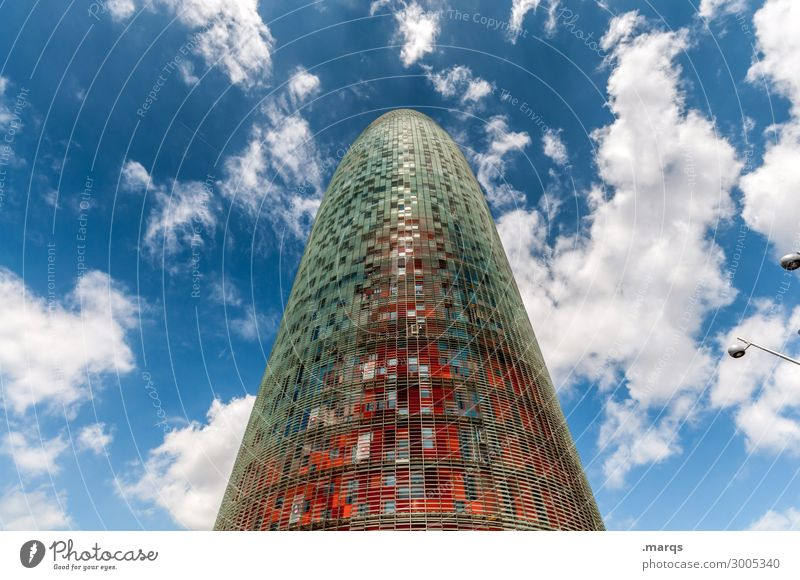 Torre Agbar Sky Clouds Summer Beautiful weather Barcelona Spain Tower Manmade structures Tourist Attraction Landmark torre agbar Tall Modern Advancement Future