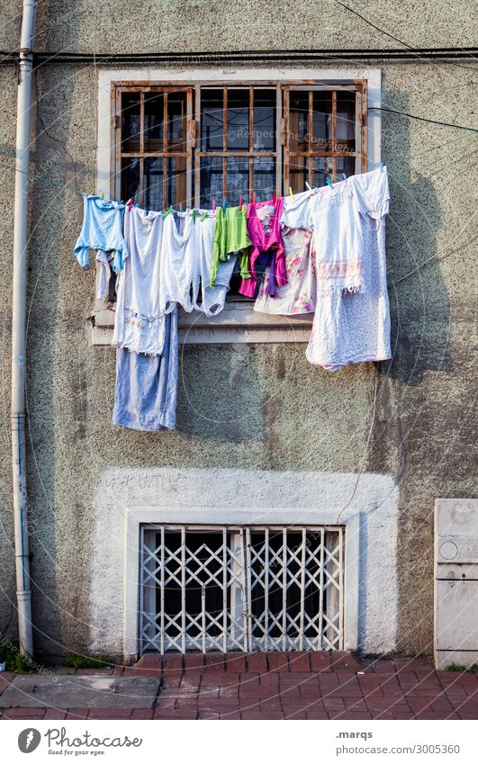 blurring Living or residing Facade Window Clothing Clothesline Laundry Old building Hang Decline Laundered Colour photo Exterior shot Deserted Copy Space top