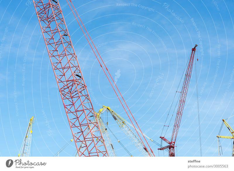 construction Town Build Crane housing shortage condos Flat (apartment) House building Rent large construction site Construction site Beautiful weather Blue sky