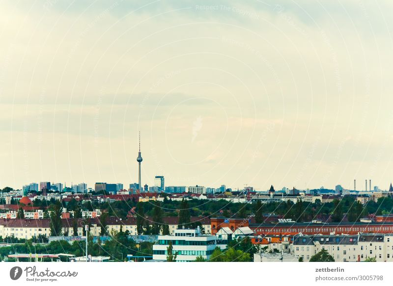 Berlin skyline Alexanderplatz Vantage point Germany Far-off places Berlin TV Tower City Sky Heaven Horizon Deserted Potsdamer Platz Skyline Copy Space