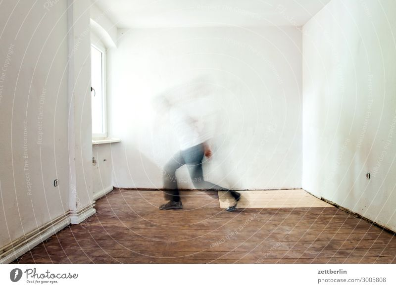 sidestep Old building Period apartment Motion blur Hallway Wooden floor Floor covering Man Wall (barrier) Human being Room Interior design Copy Space Stage play
