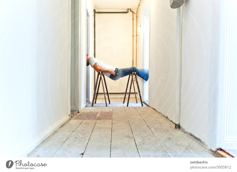yoga Old building Period apartment Motion blur Hallway Wooden floor Man Wall (barrier) Human being Room Interior design Copy Space Stage play Blur