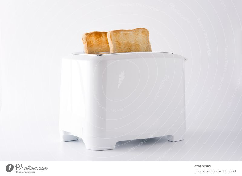 Toasted toast bread in white toaster isolated Bread Ready Toaster White Isolated (Position) Food Healthy Eating Food photograph Breakfast Sandwich Close-up
