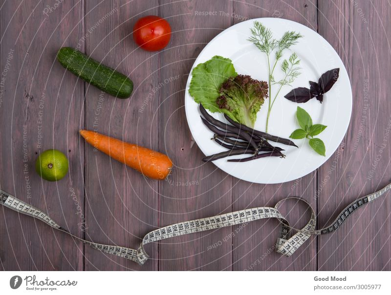 measure tape, plate with vegetables Vegetable Nutrition Eating Vegetarian diet Diet Plate Lifestyle Summer Table Kitchen Leaf Wood Fitness Thin Fresh Delicious