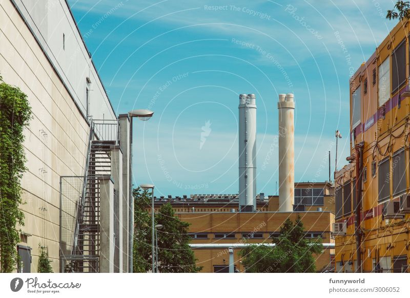 Industrial landscape Deserted Industrial plant Factory Tower Manmade structures Building Architecture Wall (barrier) Wall (building) Chimney Sharp-edged Energy