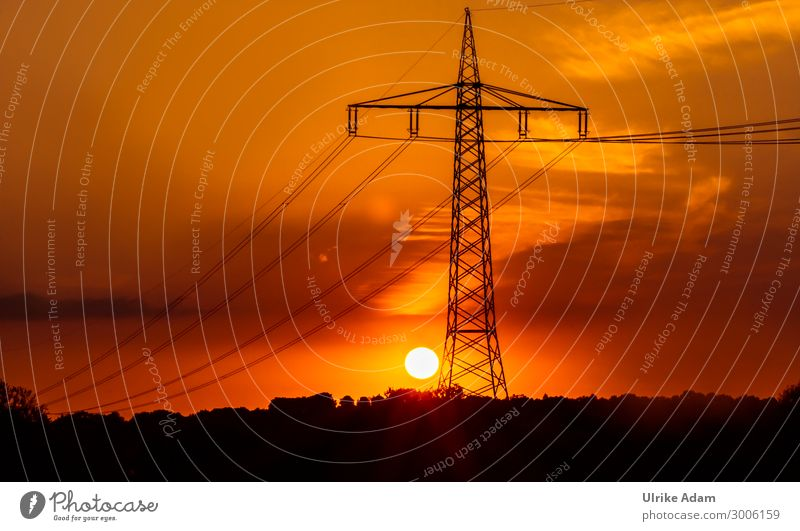 Power pole at sunset Energy industry Electricity pylon High voltage power line Environment Sky Sunrise Sunset Climate Orange Cable Electronics Colour photo