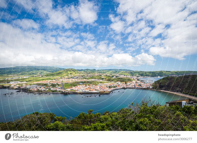 Panorama of the port city Horta on Faial, Azores Vacation & Travel Tourism Adventure City trip Cruise Landscape Plant Sky Clouds Summer Beautiful weather