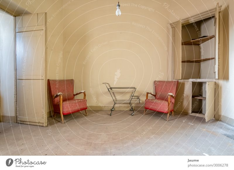 Living room of an old house with red armchairs Spain Europe Village Deserted House (Residential Structure) Building Architecture Wall (barrier) Wall (building)
