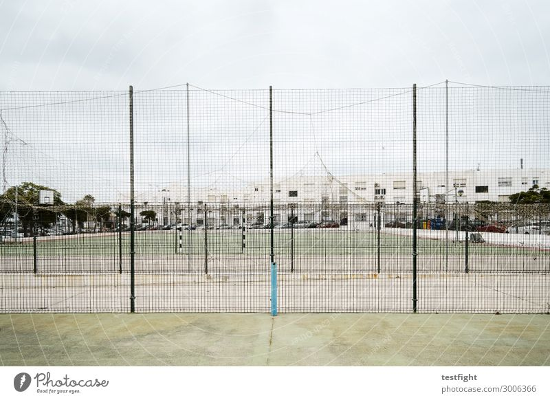 fences Leisure and hobbies Playing Sports Ball sports Sporting Complex Football pitch Park Town Movement Fence Captured Goal Looking Empty Unused Colour photo