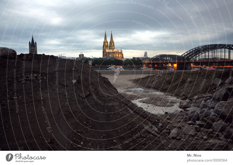 God's eternal construction site Sky Clouds Town Downtown Old town High-rise Church Dome Bridge Tourist Attraction Landmark Cologne Cathedral Hohenzollern Bridge
