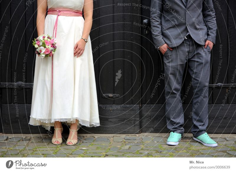 head up Feasts & Celebrations Wedding Masculine Feminine Woman Adults Man Couple Partner 2 Human being Dress Suit Stand Sympathy Together Love Infatuation