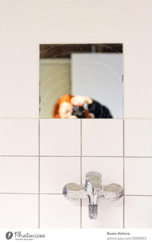 Just peeping in Living or residing Interior design Mirror Bathroom Camera Wall (barrier) Wall (building) Red-haired Tap Tile Fittings Observe Discover Looking