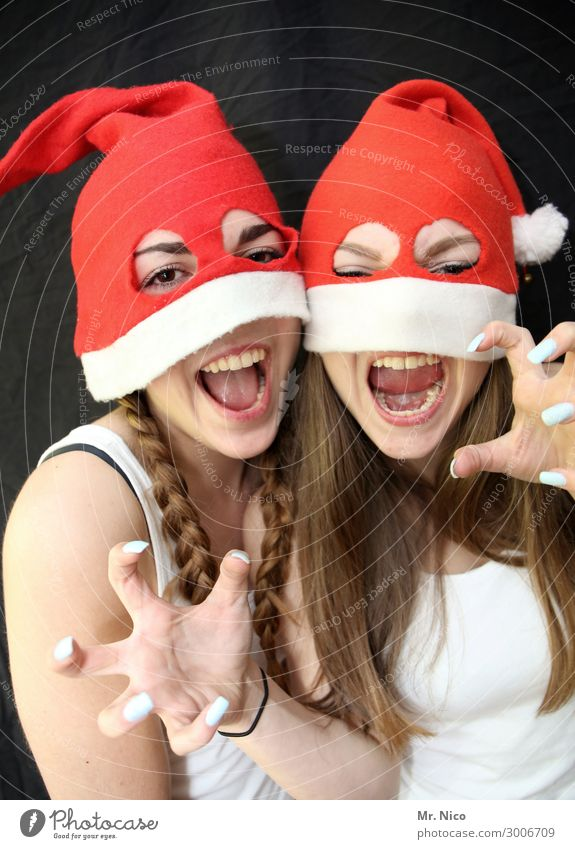 Human being Youth (Young adults) Christmas & Advent Young woman White Red Joy Winter Eyes Feminine Fingers Mouth Creepy Cap Long-haired Scream