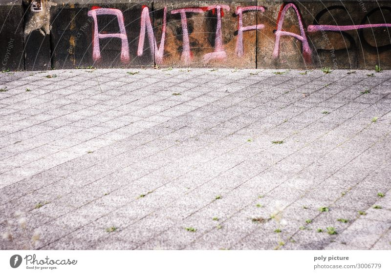 """Antifa"" graffiti on a wall Town Downtown Sign Graffiti Aggression Fear Sidewalk Politics and state Political movements Anti-fascism Letters (alphabet)"