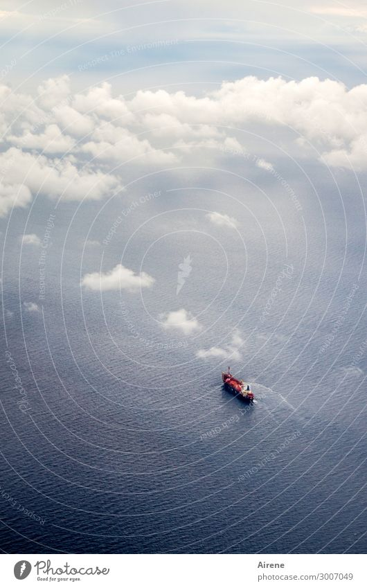 from above Water Clouds Beautiful weather Ocean Navigation Steamer Container ship Oil tanker Swimming & Bathing Small Under Blue Red White Adventure Loneliness