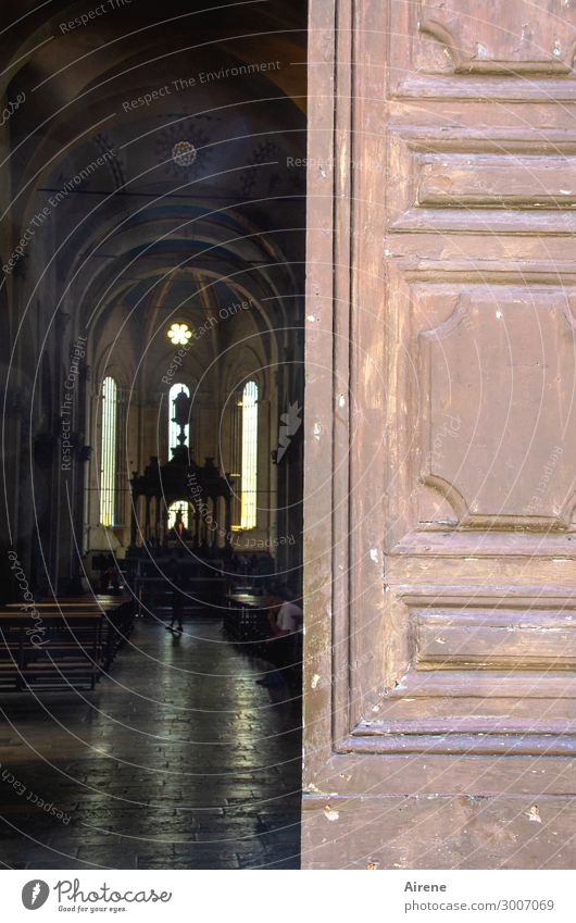 ruling Human being 1 Church Dome Architecture Altar Nave Gate Church door Dark Bright Brown Truth Tolerant Curiosity Hope Belief Disbelief Timidity