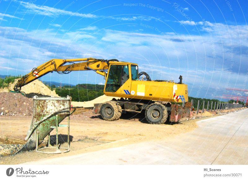 Street Work and employment Power Dirty Concrete Transport Industry Construction site Asphalt Dresden Highway Machinery Traffic infrastructure Pavement Excavator