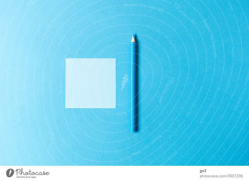 Blue note, blue pencil Leisure and hobbies Office Advertising Industry Stationery Paper Piece of paper Pen Draw Esthetic Simple Design Colour Inspiration