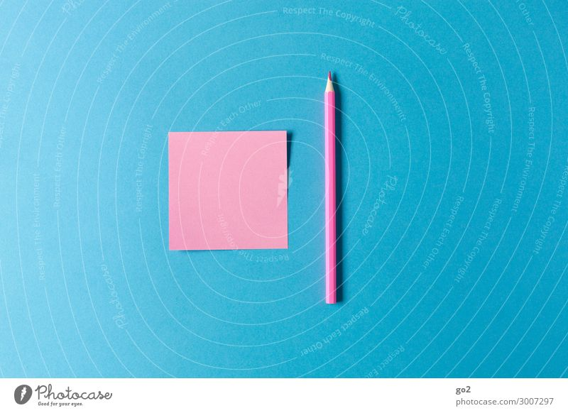 Pink note, pink pencil Parenting Education School Workplace Office Advertising Industry Stationery Paper Piece of paper Pen Draw Esthetic Blue Colour Idea