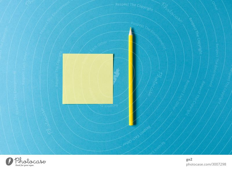 Yellow note and pen on blue Leisure and hobbies Education School Study Academic studies Office work Workplace Meeting Stationery Paper Piece of paper Pen Draw