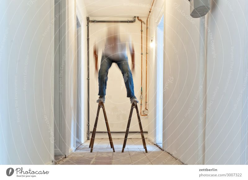 TELEMARK Old building Period apartment Motion blur Hallway Wooden floor Floor covering Man Wall (barrier) Human being Room Interior design Copy Space Stage play
