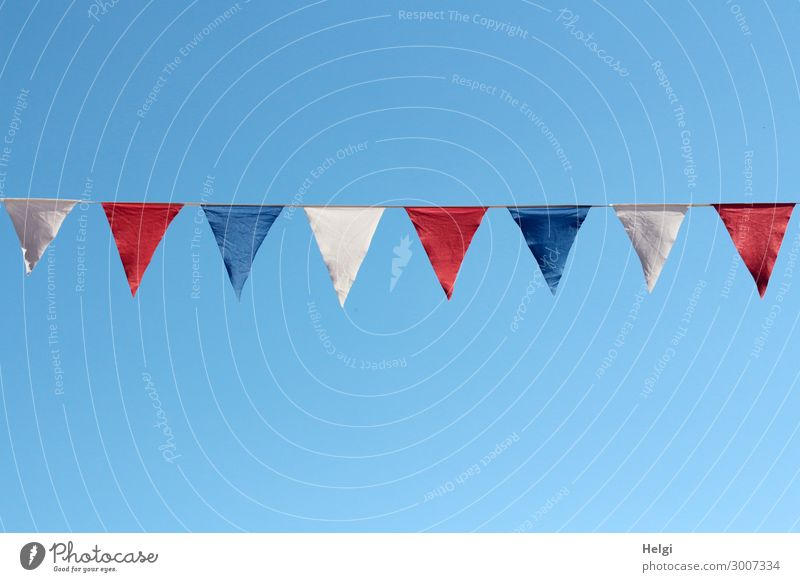 blue, white and red flags hang as decoration on a string in front of a blue sky Feasts & Celebrations Festival Cloudless sky Summer Beautiful weather Flag
