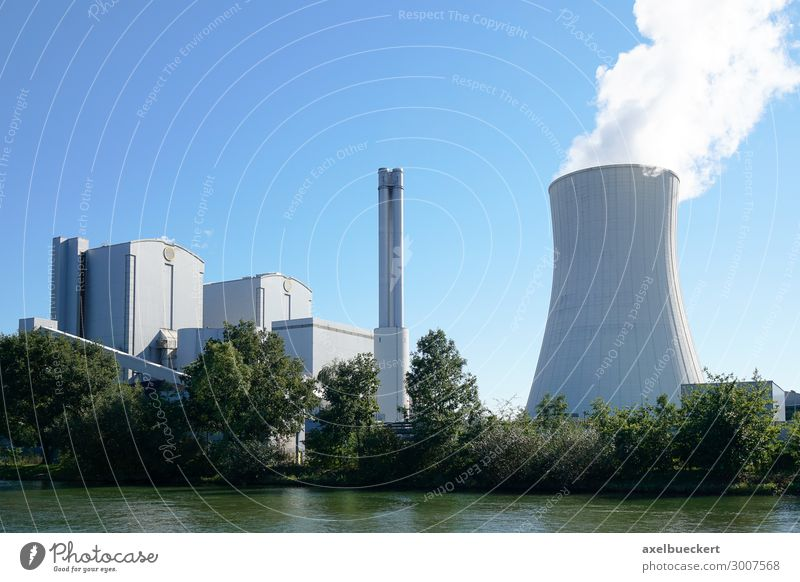 Joint venture power plant Hanover Energy industry Coal power station Energy crisis Industry Environment Cloudless sky Climate Climate change River bank Town
