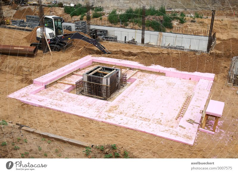 Construction site with excavation pit and foundation Sand House (Residential Structure) Manmade structures Building Architecture Excavator House building