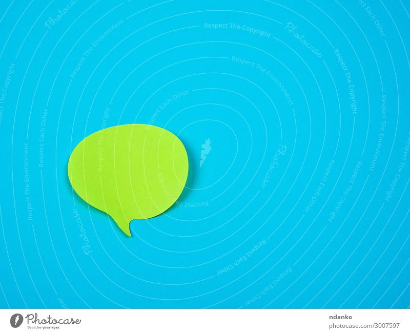 green sticker in the shape of a cloud Office Business To talk Paper Blue Green Colour Conceptual design bubble Speech communication remind Adhesive background
