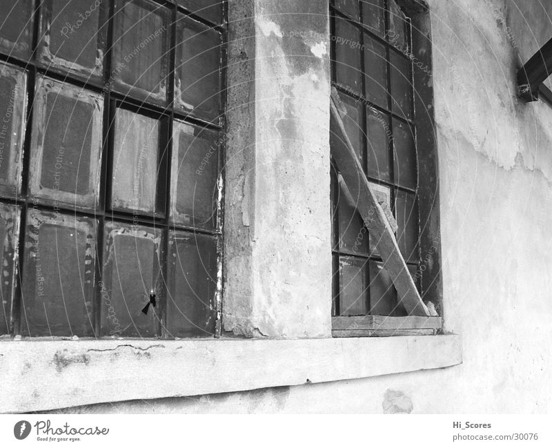 The window to the station Window Facade White Architecture black Black & white photo Glass Old