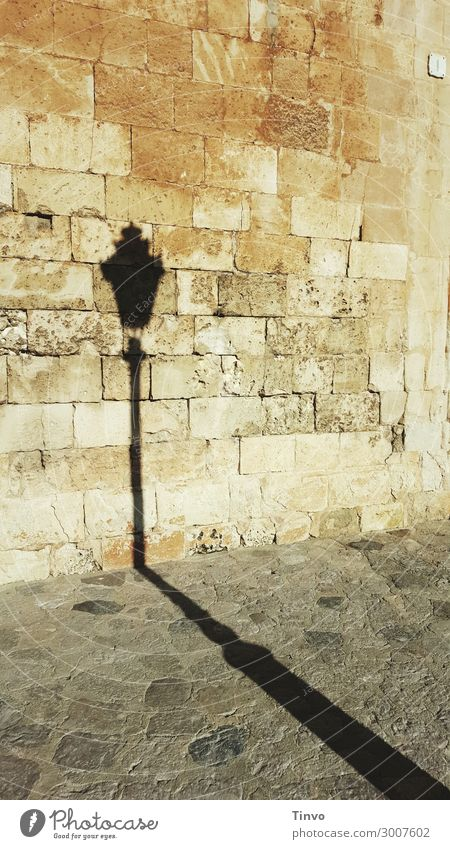 Shadow of old street lamp in front of historical wall Old town Wall (barrier) Wall (building) Facade Historic streetlamp Street lighting long shadow City wall
