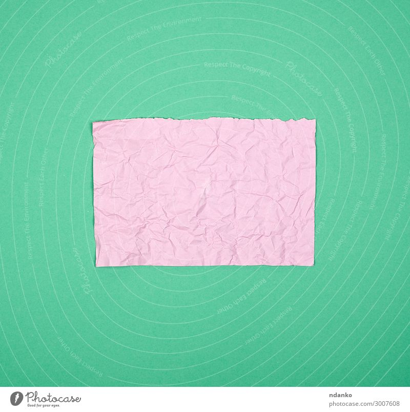 empty crumpled pink rectangular sheet of paper School Office Business Book Paper Clean Green Pink backdrop angle background Blank crease Diary Document