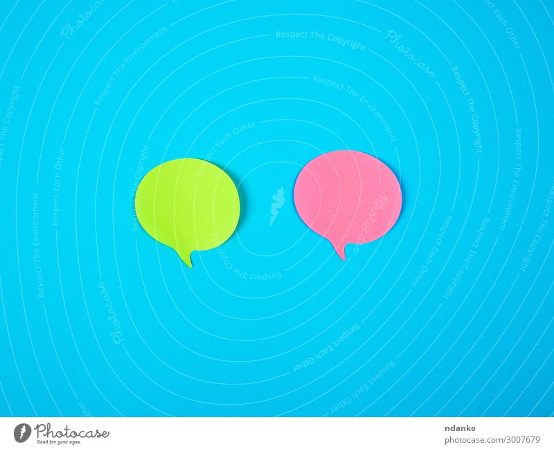 two color paper stickers on a blue background Office Clouds Paper To talk Exceptional Blue Green Pink Red Colour post note Remember Sticky Information board