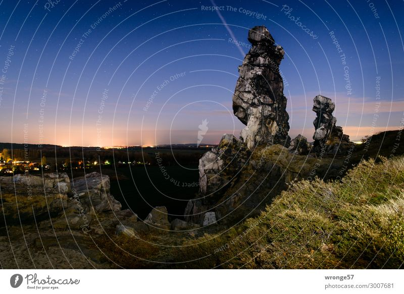 At night at the Devil's Wall Nature Landscape Sky Cloudless sky Night sky Horizon Summer Beautiful weather Bushes Hill Rock Teufelsmauer Harz Dark Natural Blue