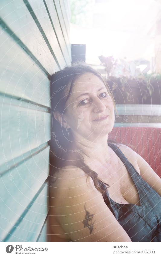 lady b. Woman Beautiful Relaxation Cozy Smiling Congenial Serene Wellness To enjoy Summer Sun Warmth Going out Sit Friendship Looking into the camera