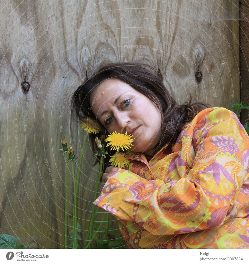 Portrait of a woman with long, brunette hair and colourful blouse holding a dandelion flower in her hand, in the background a wooden wall Human being Feminine