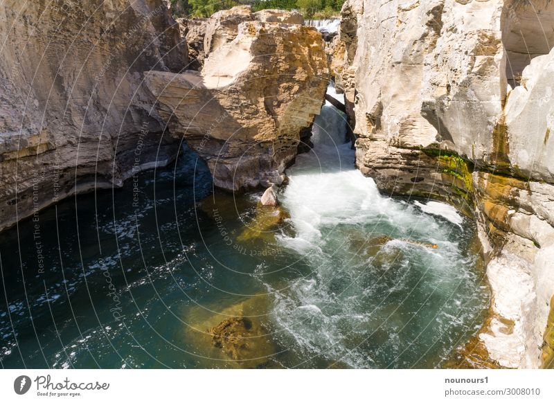 Cascade de Sautadet on the Ceze Nature Landscape Water Summer Beautiful weather Rock Canyon Waves River Waterfall Tourist Attraction Exceptional Threat