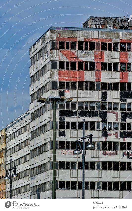 Window Architecture Graffiti Berlin Facade Decline Derelict Ruin Prefab construction Alexanderplatz Vacancy Task Disregard