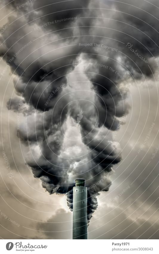 industrial vent Energy industry Coal power station Industry Chimney Exhaust gas Emission Smoke Fireside Smoking Threat Dark Brown Gray Black Fear of the future