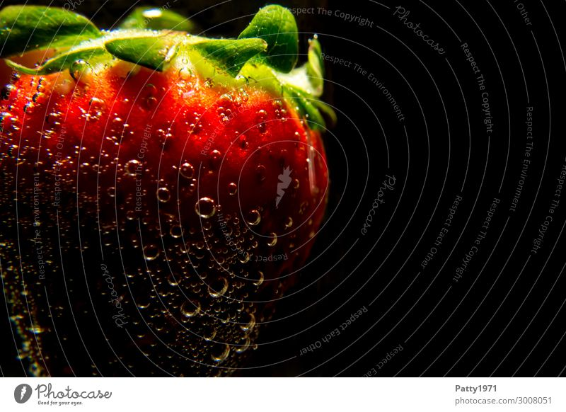 strawberry Food Fruit Strawberry Beverage Drinking water Air bubble Dark Fresh Healthy Green Red Black Bizarre Colour photo Close-up Detail