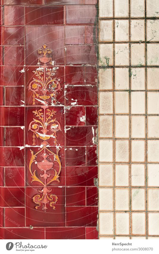 Old & nice Wall (barrier) Wall (building) Facade Beautiful Town Red White Tile Wall cladding Decoration flowery Patina Transience Reflection Background picture