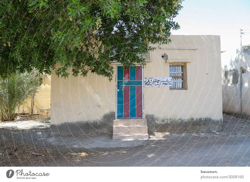 blue red. Sun Summer Beautiful weather Tree Oman Village House (Residential Structure) Wall (barrier) Wall (building) Facade Window Door Name plate