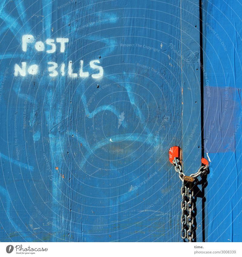 Bills forbidden, all other guys allowed (II) Construction site New York City Wall (barrier) Wall (building) Door Door lock Chain Wood Metal Characters