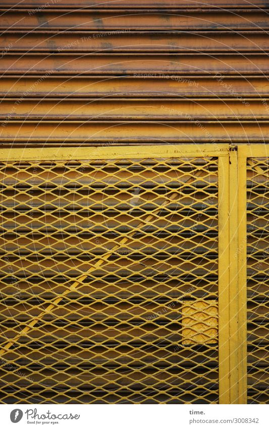 Yellow Wall (building) Time Wall (barrier) Line Metal Door Power Esthetic Construction site Discover Protection Safety Fence Concentrate Border