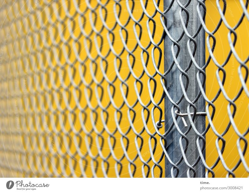 metal types (III) Workplace Construction site Craft (trade) Fence Wire netting Wire netting fence Metal Line Yellow Gray Safety Protection Disciplined Endurance