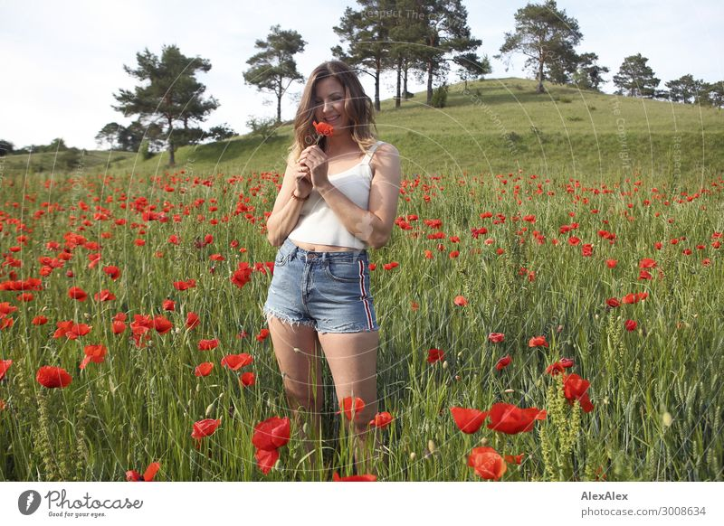 Young woman in poppy field Lifestyle Joy Happy Beautiful Harmonious Youth (Young adults) 18 - 30 years Adults Landscape Plant Flower Poppy Poppy blossom Field