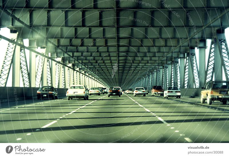 Oakland Bridge San Francisco Concrete Steel Gray Retro Americas Transport USA Water River Car Town