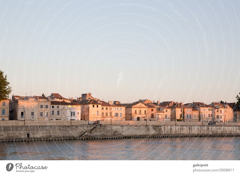 Old town of Arles with river in the evening sun France Town Exterior shot Colour photo Deserted House (Residential Structure) Facade Copy Space top Historic Sky